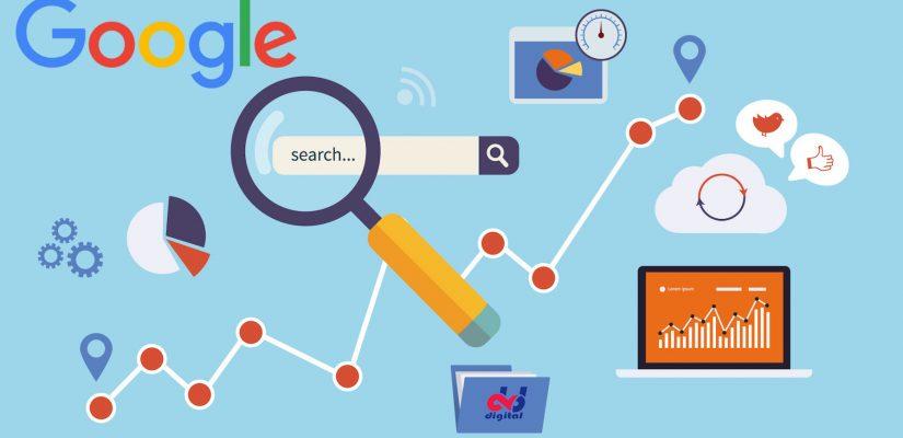 ilustração página do Google com uma lupa em cima da barra de pesquisa